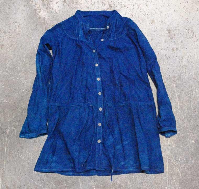 紐付きシャツ-藍染直し後