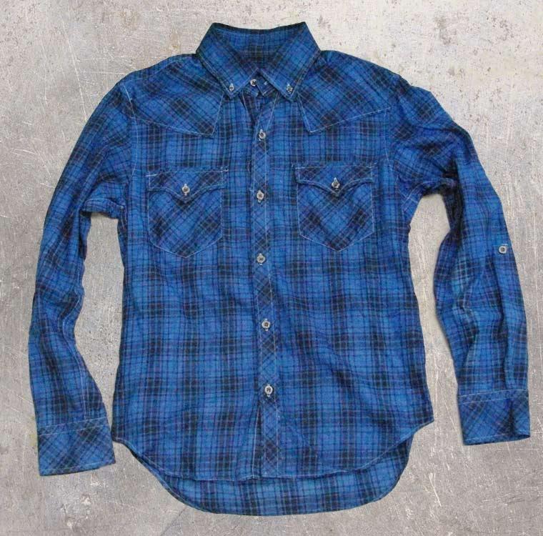 チェックシャツ-藍染直し後